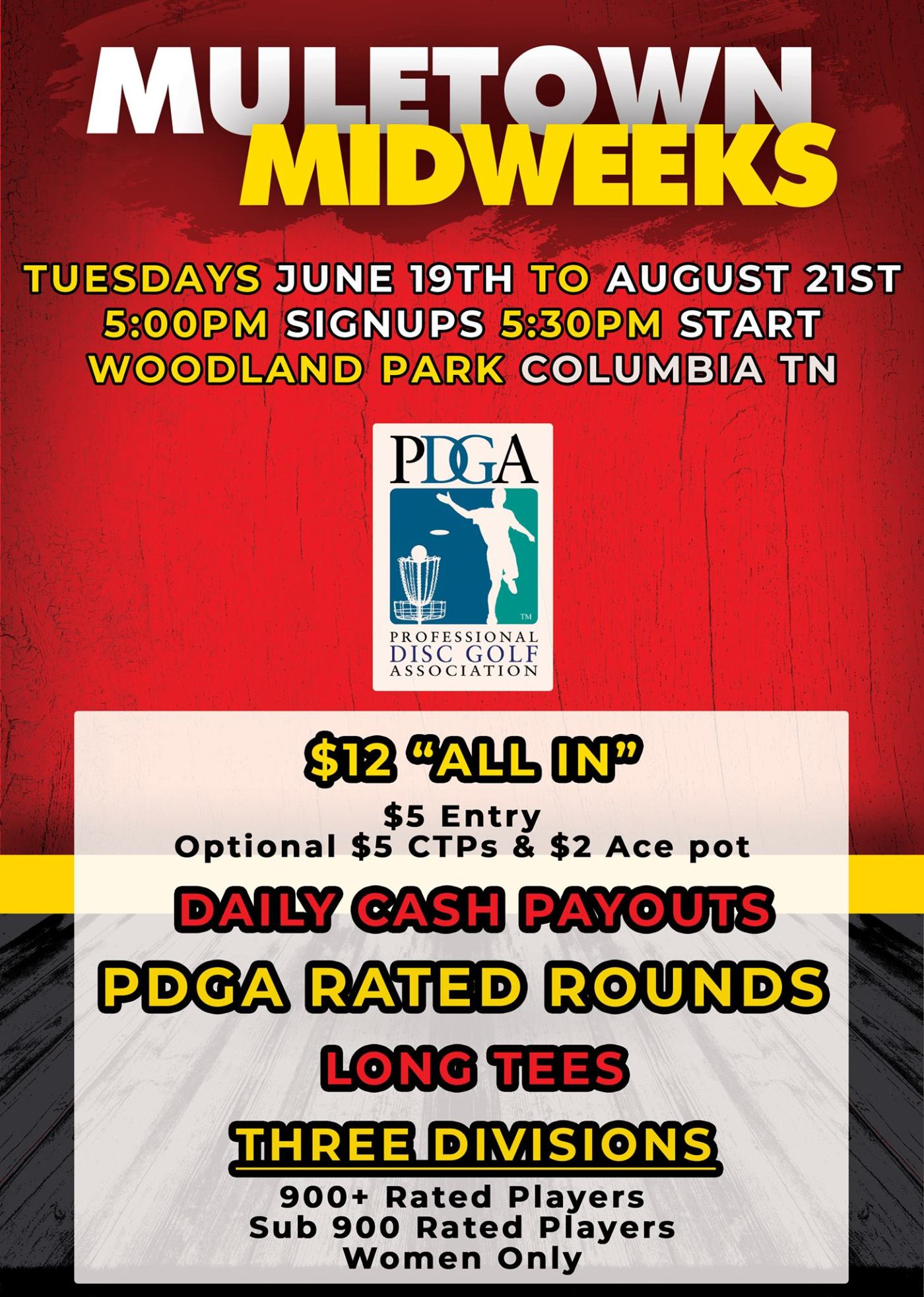 On Tuesday Nights This Summer Muletown Disc Golf Will Be Hosting A PDGA League With Weekly Payouts At Woodland Park Here Are The Details